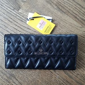 Mario Valentino black stud wallet leather new